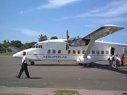 """Aeroperlas, or as I caled it scaryperlas flew thes Shorts 360 (or as I called them 'in your shorts"""") aircraft which looked to me like some rail car someone stuck wings on. Someone got this photo after a plane was washed, normally they looked horrible, outside and worse inside."""